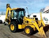 Yellow John Deere 410-E Backhoe Loader